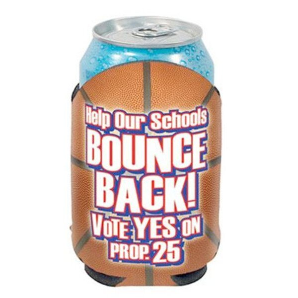 Basketball Action Can Cooler w/ Full Color Imprint