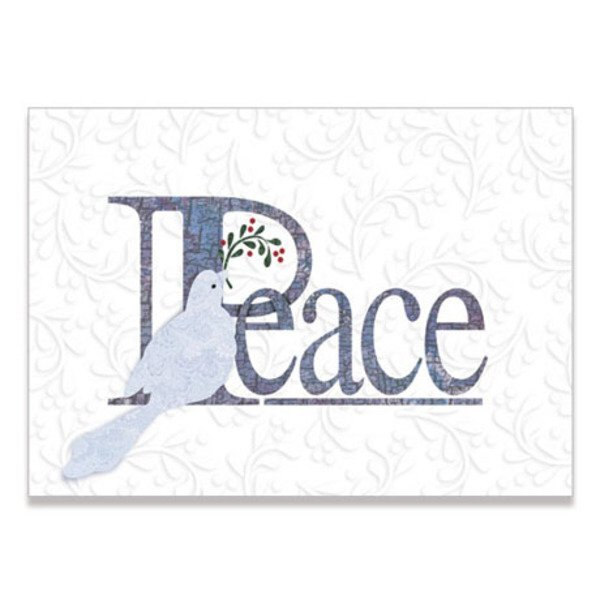 Peace Dove Embossed Holiday Greeting Card