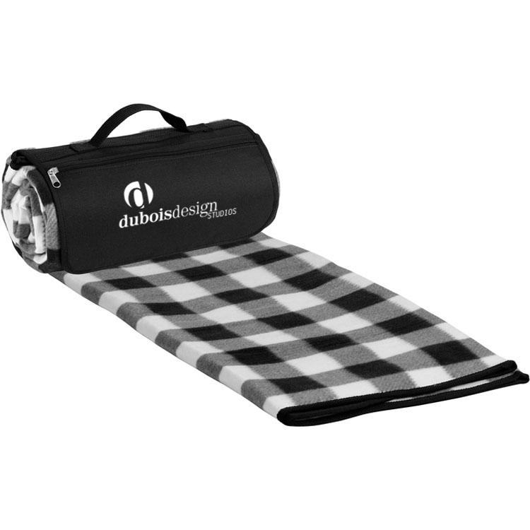 Roll-Up Picnic Blanket - Black/White Plaid