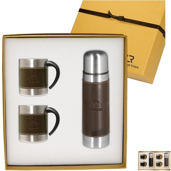 Empire™ Leather Stainless Coffee Cup & Thermos Set