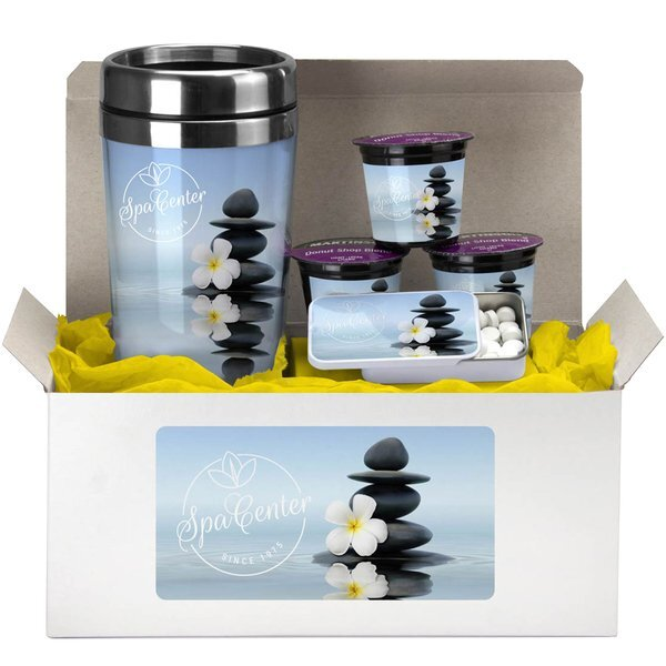 Coffee Lover's Tumbler, Mints & Coffee Pod Gift Set w/ Full Color Imprint