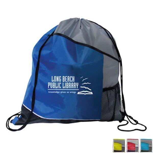 Varsity 210D Polyester Drawstring Backpack