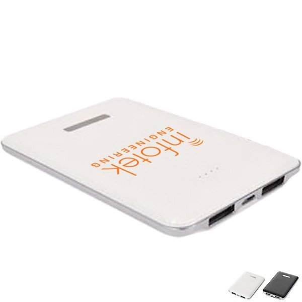 Dual Port Leatherette Power Bank Charger, 5000 mAh