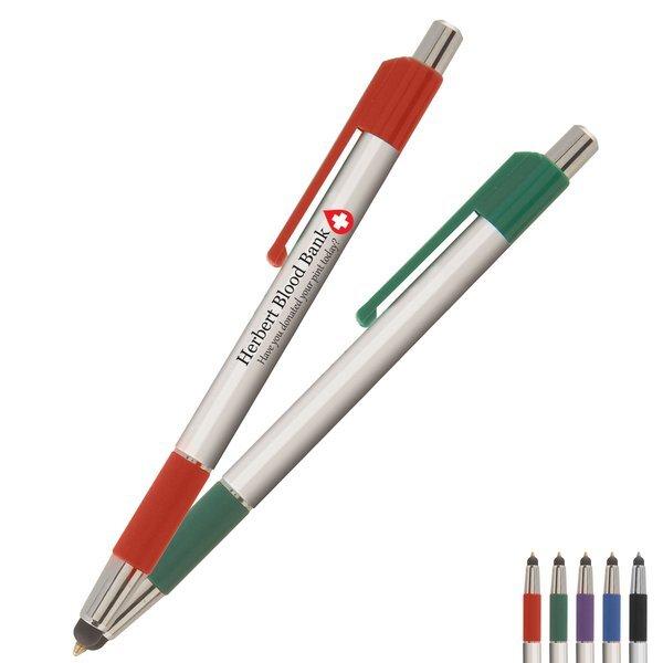 TouchWrite Retractable Ballpoint Stylus Pen w/ Full Color Imprint