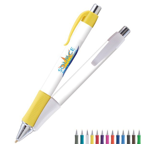 Vision Comfort Grip White Barrel EverSmooth Ink® Pen w/ Full Color Imprint