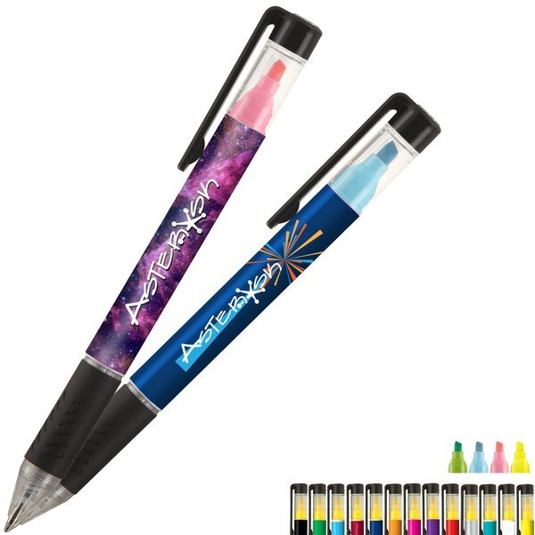 Duplex Rubber Grip Ballpoint Pen & Highlighter w/ Full Color Imprint
