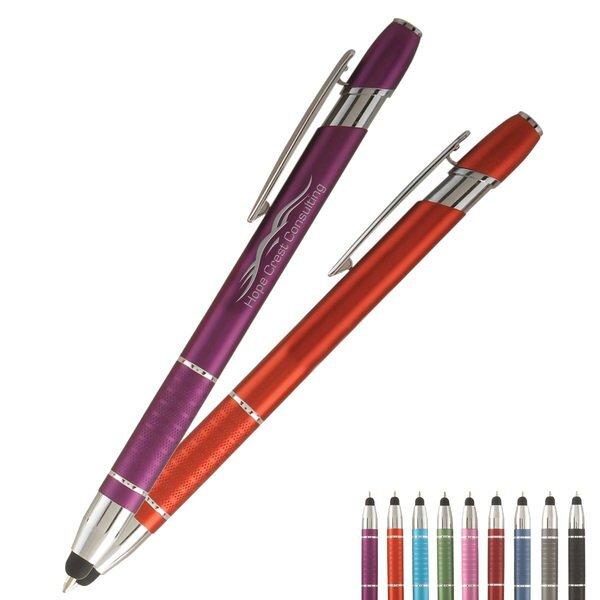 Ellipse Metal Ballpoint Stylus Pen w/ Ribbed Grip