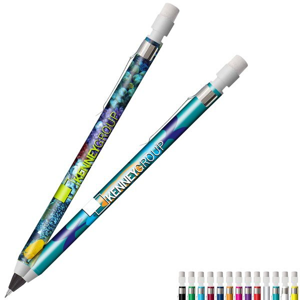 Mechanical Chrome Clip Pencil w/ Full Color Imprint