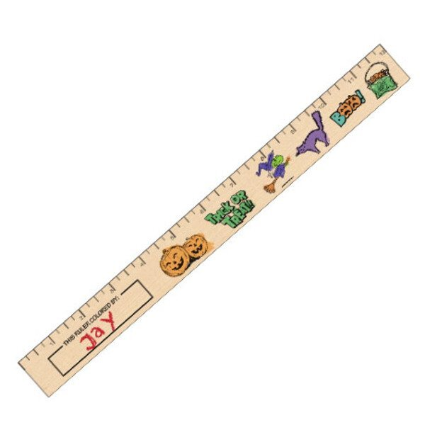 "Color-Me Natural Finish Ruler, 12"" - Halloween Safety Theme"