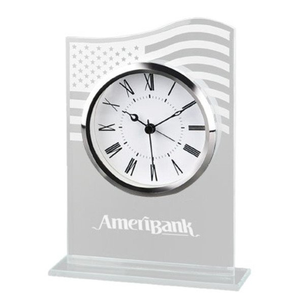 Patriotic Glass Desk Clock