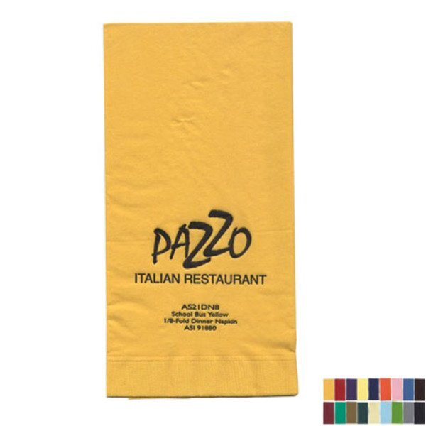 """Colored Dinner Napkins, 1/8"""" Fold, 2 Ply"""