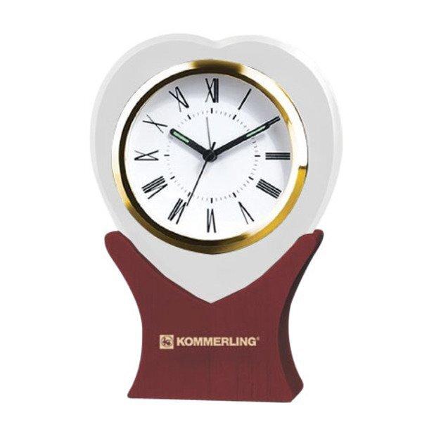Heart On Wood Desk Clock
