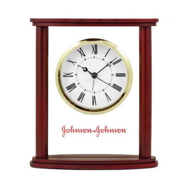 Columbia Wood & Glass Desk Clock
