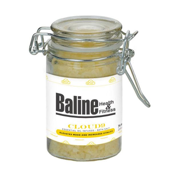 Cloud 9 Essential Oil Infused Bath Salts in Glass Wire Bale Jar, 2.73oz.