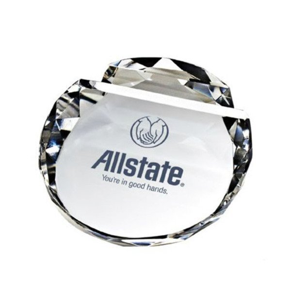 Crystal Paperweight Card Holder