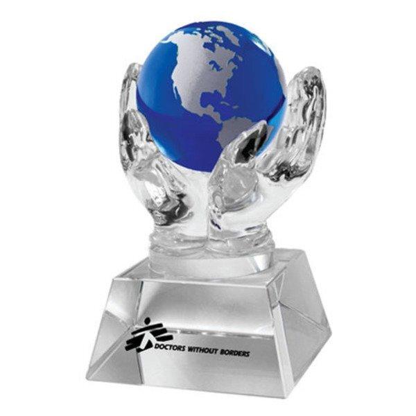 Crystal Hands & Blue Globe Desk Sculpture