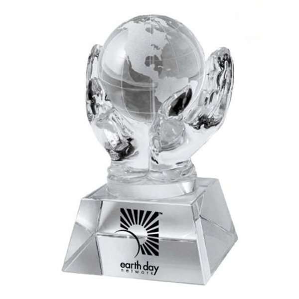 Crystal Hands & Globe Desk Sculpture