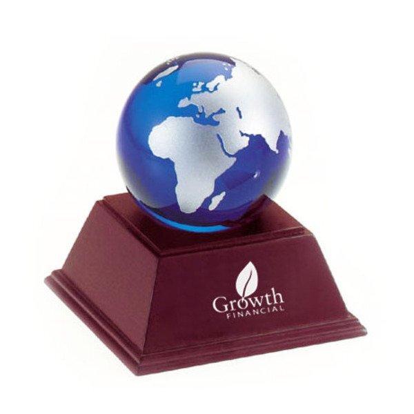 Blue & Silver Glass Globe w/ Wood Stand