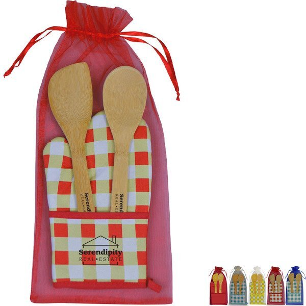 Chef's Pocket Oven Mitt & Bamboo Utensil Set