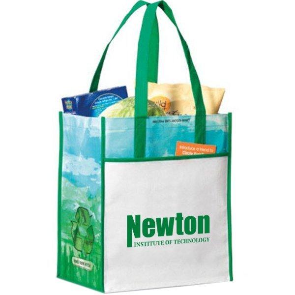 Windsor Laminated Non-Woven Shopper, Kelly Green Pattern