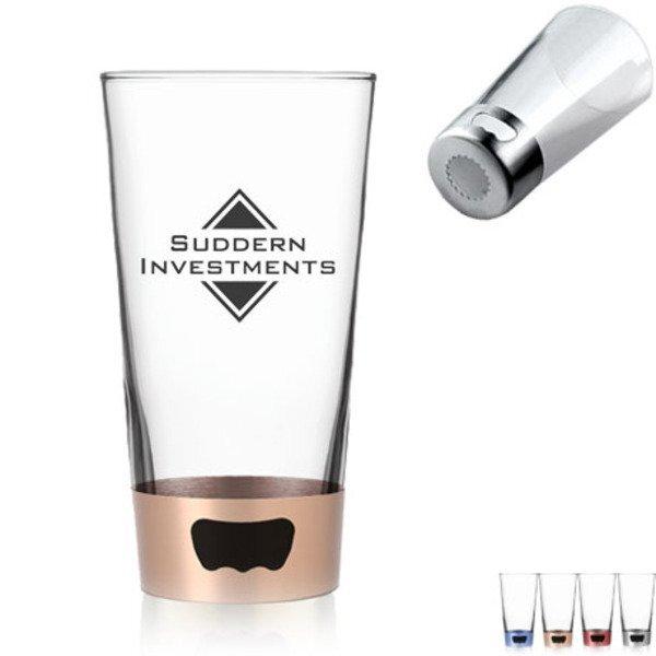 Pint Glass with Steel Base Opener, 16oz.