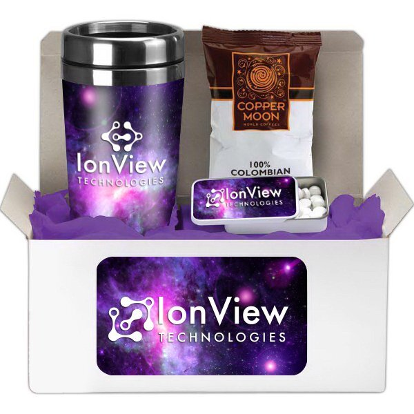 Coffee Lover's Tumbler, Coffee & Mints Gift Set w/ Full Color Imprint