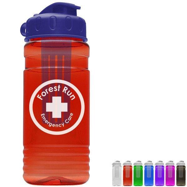 Groove Infuser Tritan™ Transparent Sports Bottle, 20oz. - Flip Top Lid