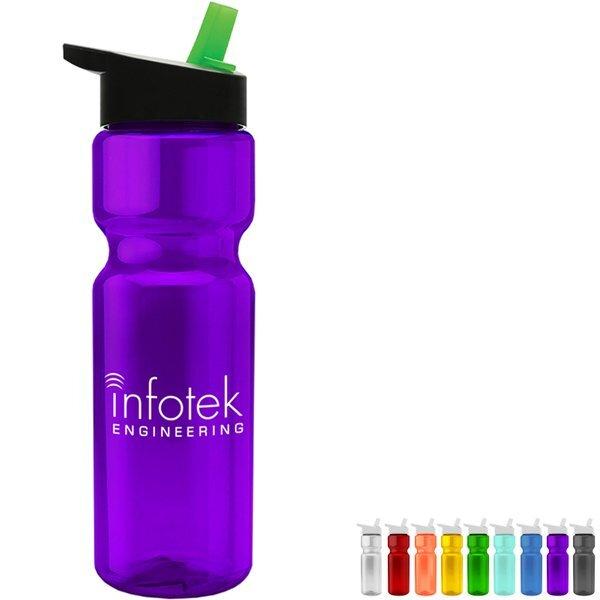 Transparent Sports Bottle, 28oz. - Flip Straw Lid