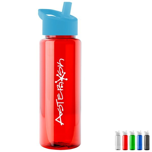 Guzzler Transparent Sport Bottle, 32oz. - Flip Straw Lid