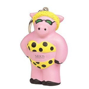 Cool Beach Pig Stress Reliever Key Ring