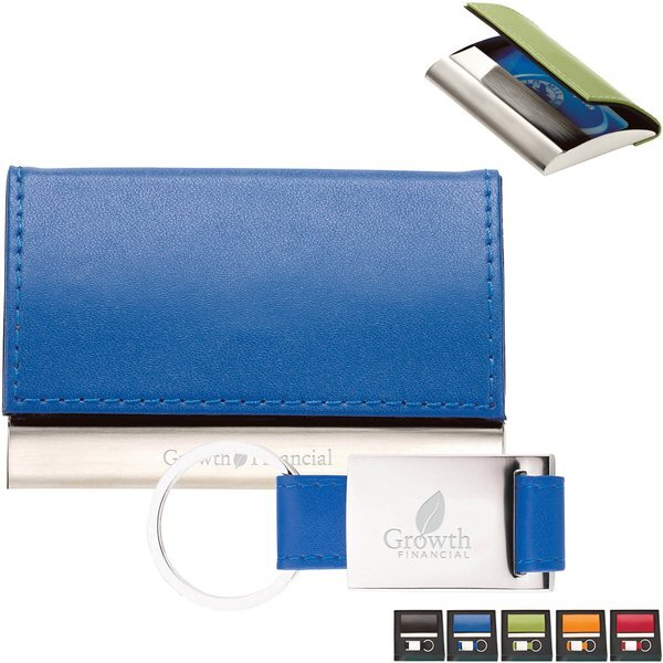 Burano Leather Card Case & Key Ring Gift Set