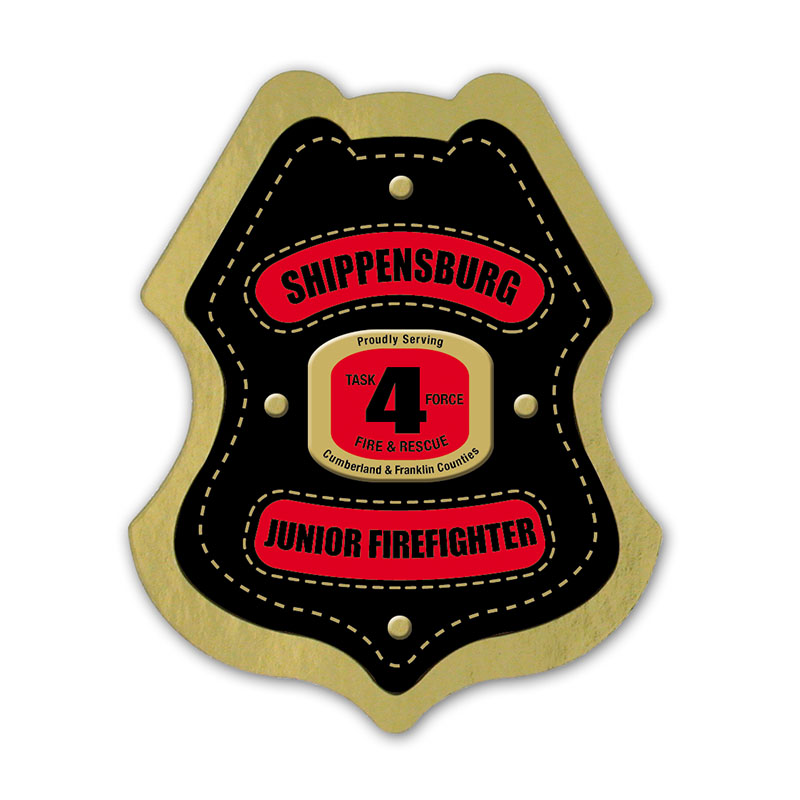 Junior Firefighter Foil Sticker Badge
