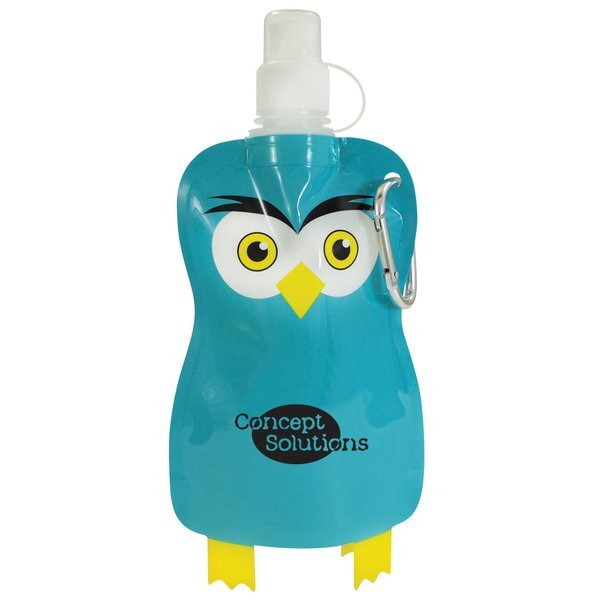 Paws N Claws Flat Water Bottle, 12oz. - Owl