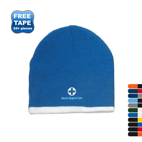 Two Color Acrylic Knit Beanie