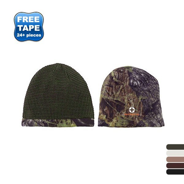 Reversible Camo and Waffle Knit Beanie
