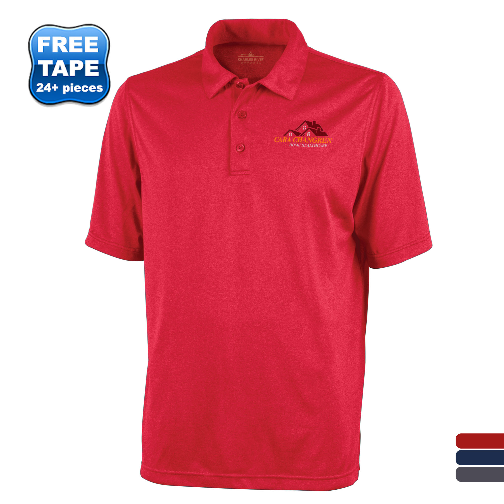 Charles River® Heathered Jersey Men's Performance Polo