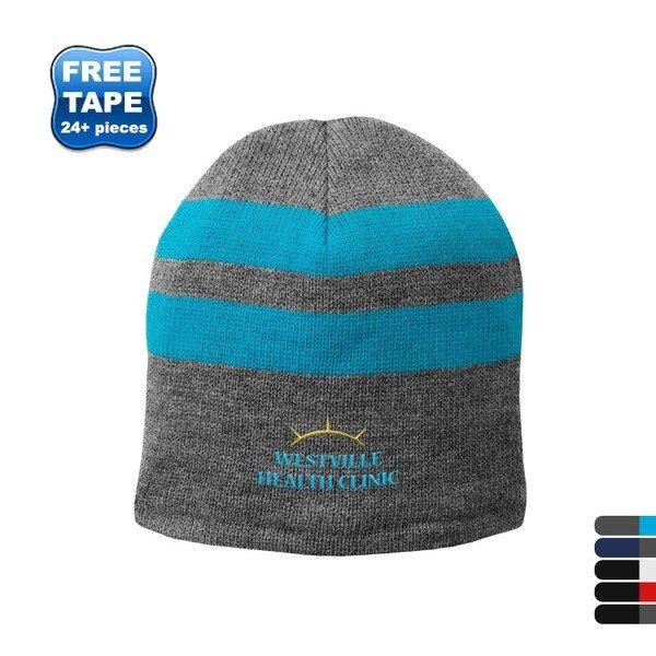 Port & Company® Fleece Lined Striped Beanie Cap