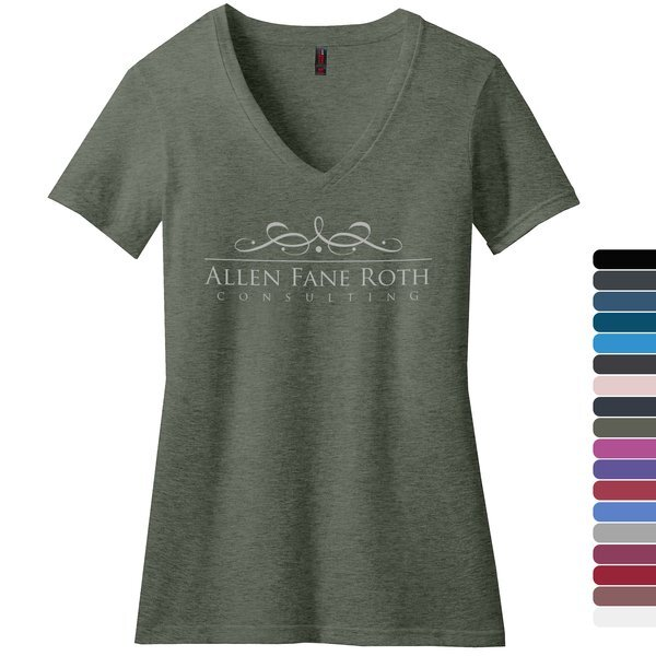 District Made® Perfect Blend® Ladies' V-Neck Tee