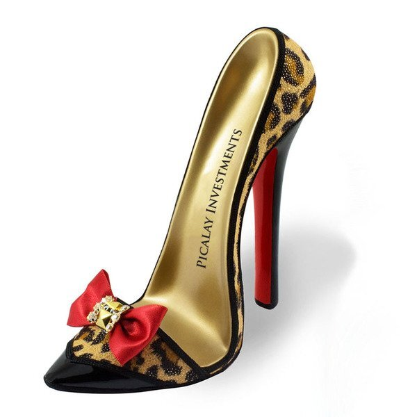 High Heel Shoe Phone Stand - Red Bow Leopard