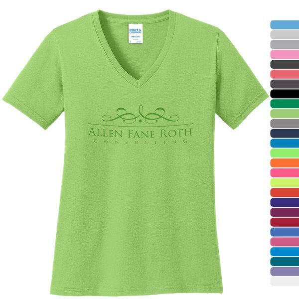 Port & Company® 100% Cotton Ladies' V-Neck Tee