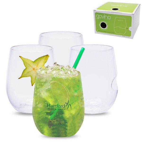 govino® Shatterproof Stemless Wine Glass 4 Pack, 12 oz.