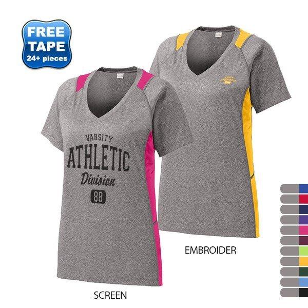 Sport-Tek® Heather Colorblock Contender™ Ladies' V-Neck Performance Tee