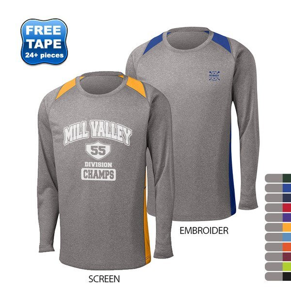 Sport-Tek® Heather Colorblock Contender™ Men's Long Sleeve Performance Tee
