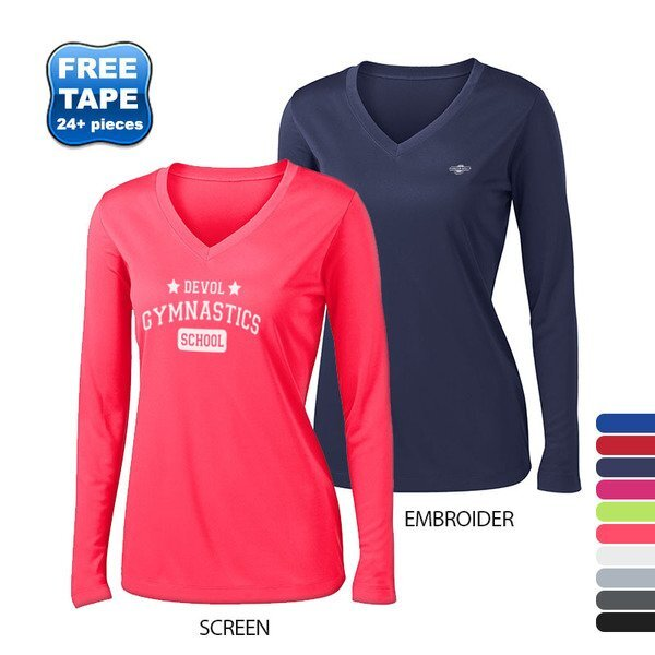 Sport-Tek® PosiCharge™ Competitor™ Ladies' Interlock Long Sleeve Performance V-Neck Tee