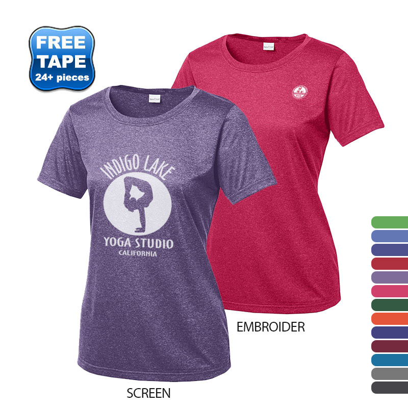 Sport-Tek® Heather Contender™ Ladies' Scoop Neck Performance Tee