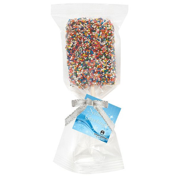 Chocolate Covered Crispy Pop with Rainbow Nonpareil Sprinkles