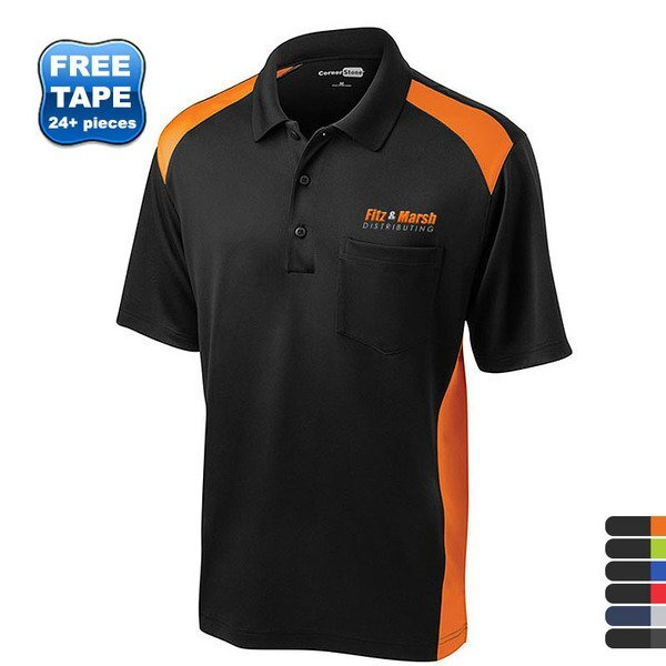 CornerStone® Select Snag-Proof Two Way Colorblock Men's Polo with Pocket