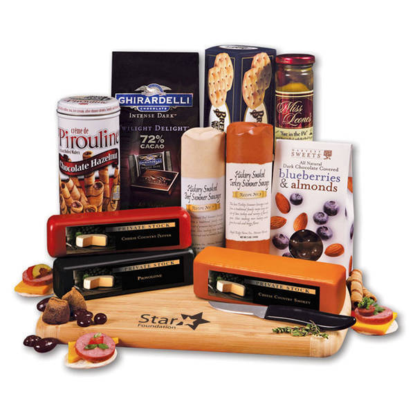 Extravagant Meat & Cheese Gift Set with Bamboo Cutting Board
