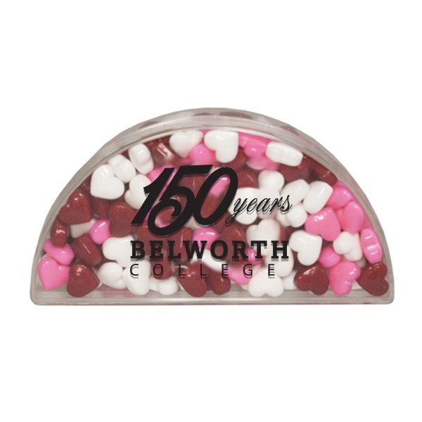 Clear Half Moon Container w/ Candy Hearts