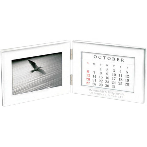 "Folding Silver Photo Frame & Perpetual Calendar, 4"" x 6"""